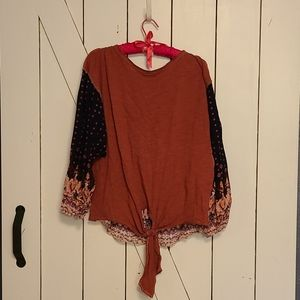 Red and Navy blouse